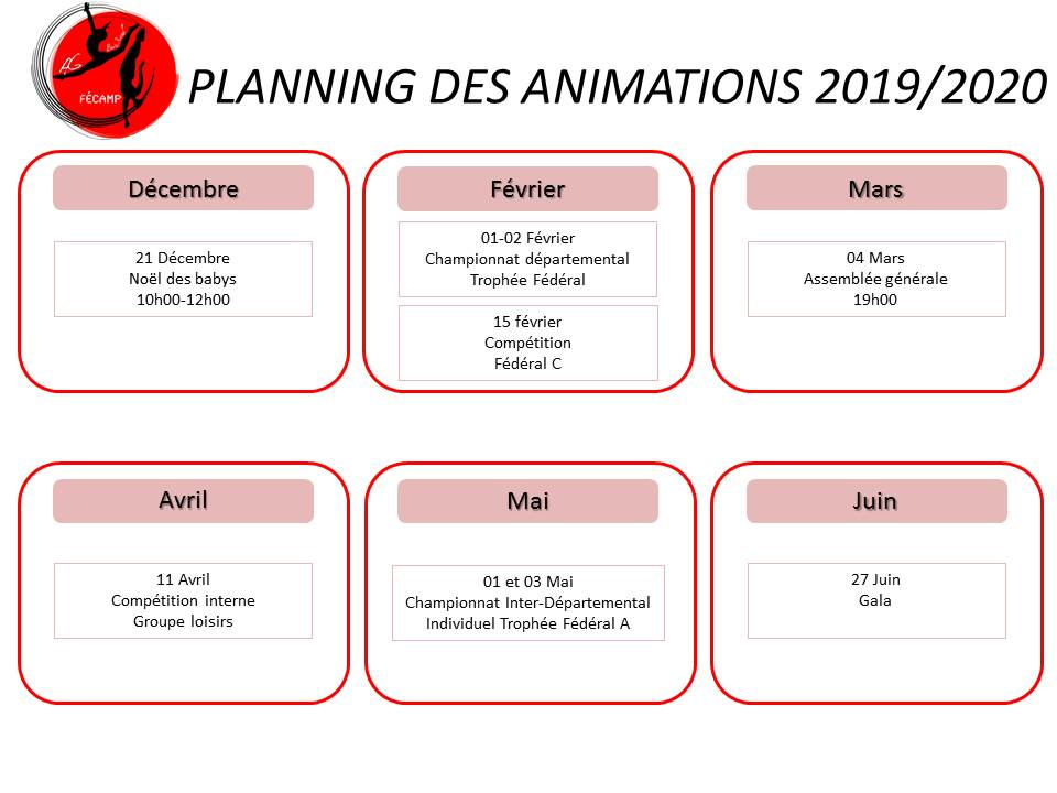 Planning des animations 2019